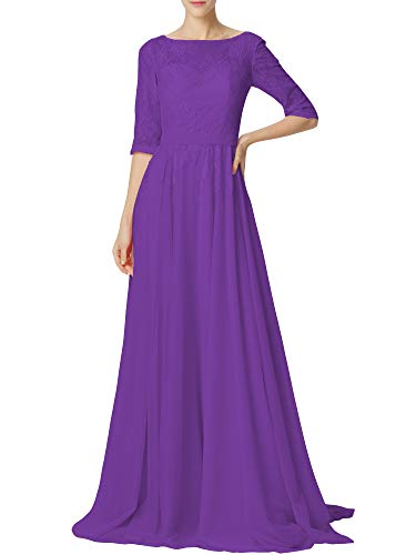 (Chiffon Mother of The Bride Dresses Long Lace Evening Gowns Prom Formal Dress Plus Size Maxi with Sleeves Purple US8)