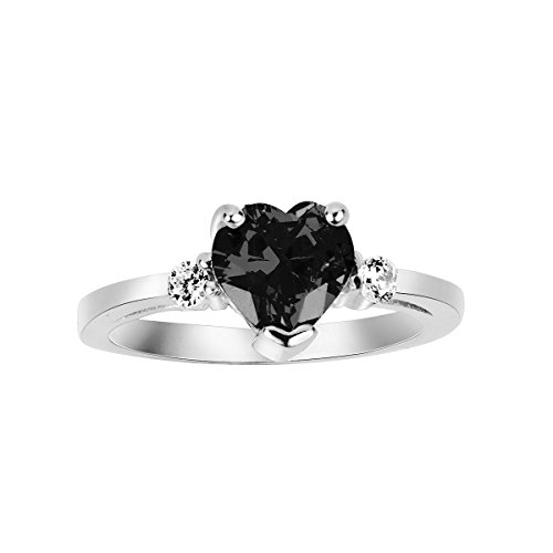 CloseoutWarehouse Black Cubic Zirconia Heart Ring Sterling Silver Size ()