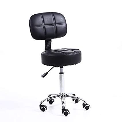Pleasing Kktoner Round Rolling Stool With Back Pu Leather Height Adjustable Swivel Drafting Work Spa Medical Salon Stools Chair With Wheels Black Unemploymentrelief Wooden Chair Designs For Living Room Unemploymentrelieforg