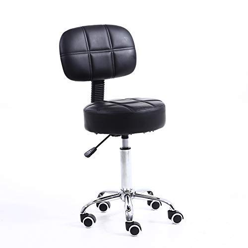 Round Back Swivel Stool - KKTONER Round Rolling Stool with Back PU Leather Height Adjustable Swivel Drafting Work SPA Medical Salon Stools Chair with Wheels Black