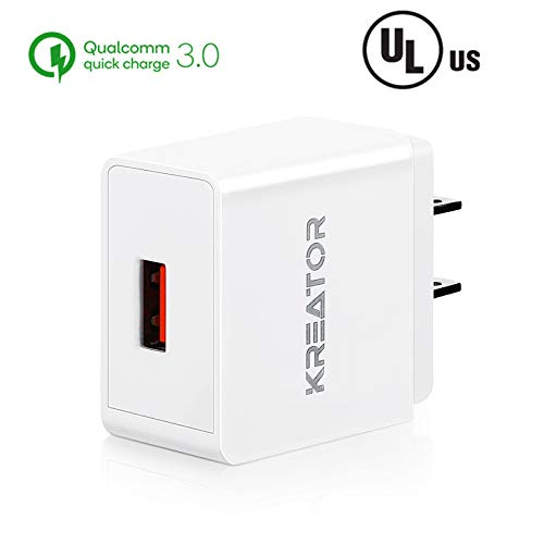Quick Charge 3.0 18W USB Wall Charger Fast Charging Travel Compact Adapter for iPad Pro 2018, iPhone Xs Max/Xs/XR/X/8/7/6 Plus/5S/4S, Samsung, LG, Kindle, Android SmartPhone