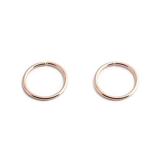 14K Rose Gold Filled Open Hoop Earrings, 12 x 1mm RGF-OP-R-D12-1MM-18GA-Hoops (Gold Round Horseshoes)