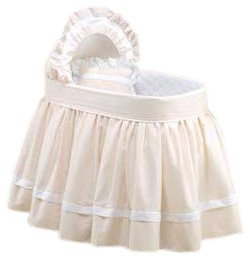 Pique Bassinet - Baby Doll Bedding Regal Pique Bassinet Set, Ecru