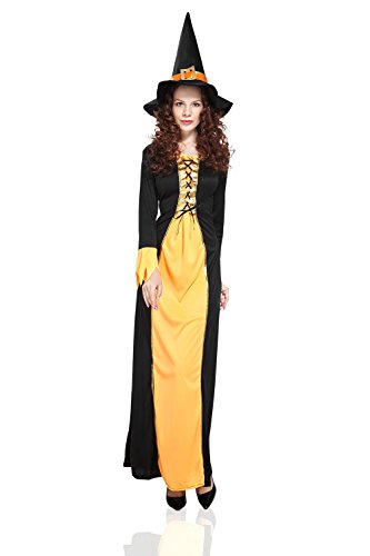 Adult Women Witch Costume Sorceress Halloween Cosplay & Role Play Fairy Dress Up (Small/Medium, Black, Orange, Yellow, Gold)