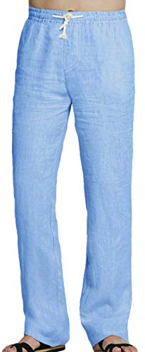 Youhan Men's Fitted Elastic Waistband Cotton Linen Pants with Drawstring (X-Large, Blue)