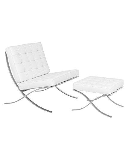 LeisureMod Modern Bellefonte Pavilion Chair & Ottoman (White Leather) by LeisureMod