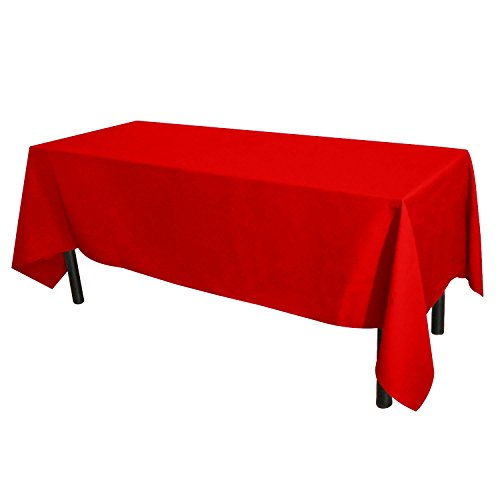 GlaiEleh Rectangle Tablecloth - 60 x 102 Inch - Red Rectangular Table Cloth for 6 Foot Table in Washable Polyester - Great for Buffet Table, Parties, Holiday Dinner, Wedding & More