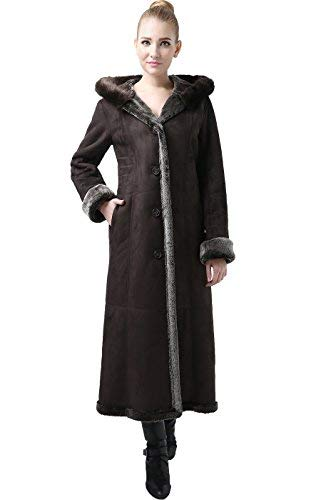 - BGSD Women's Pauline Hooded Faux Shearling Maxi Coat - Chocolate/Light Brown S