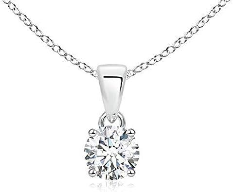 Colgante de solitario de diamante redondo clásico en platino (5,2 mm de diámetro)