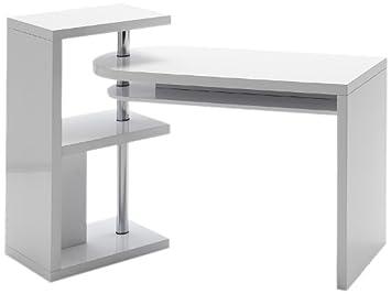 Robas lund mattis table de bureau mdf blanc brillant x