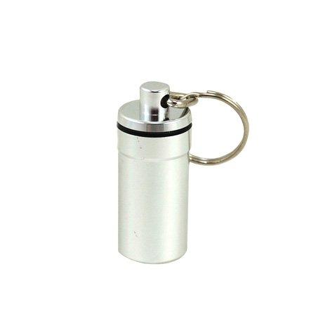 Waterproof Airtight Pill Fob Holder Med Rx Box Keychain  Silver