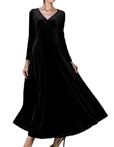 de cóctel vestido del de 3 Vestido Invierno elegante Scothen redondo de noche de Vestidos Vestido Costuró cóctel manga contraste de vestido noche de longitud cuello Vestido piso negro 4 de qRRwxnAFz