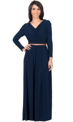 KOH KOH Womens Long Sleeve V-Neck Semi Formal Fall Winter Flowy Gown Maxi Dress