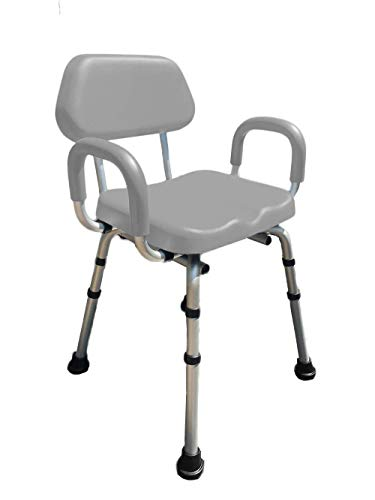 Shower Chair, Bath Chair, Padded with Armrests, Comfortable(tm) Deluxe Shower Chair. Institutional Quality. (Gray)