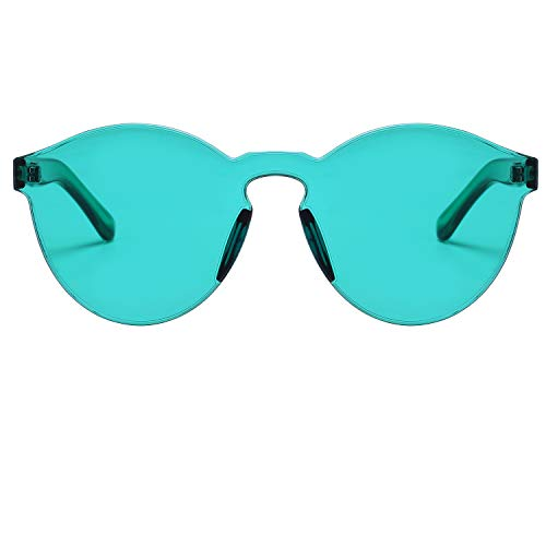 00391a689422 One Piece Rimless Sunglasses Transparent Candy Color Tinted Eyewear ...