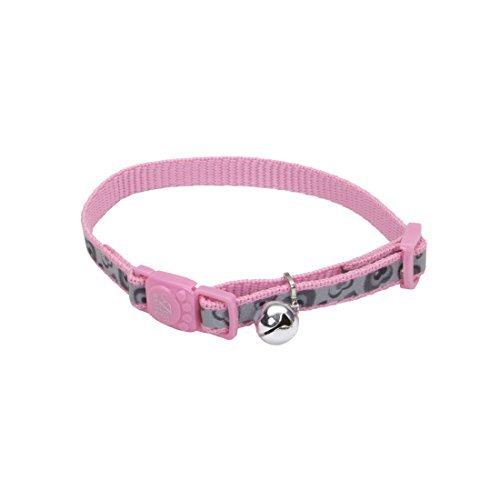 Pink Heart Lazer Brite Reflective Adjustable Breakaway Cat Collar By Coastal Pet (Coastal Lazer Reflective Collar)