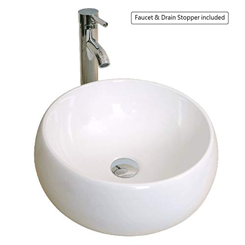(Walcut Bathroom Round Bowl, Porcelain Ceramic Vessel, White Vanity Sink Art Basin, Chrome Faucet and Pop-up Drain Combo, White)
