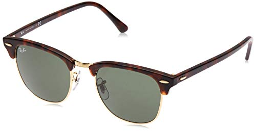 RAY-BAN RB3016 Clubmaster Square Sunglasses, Mock Tortoise Gold/Green, 51 mm