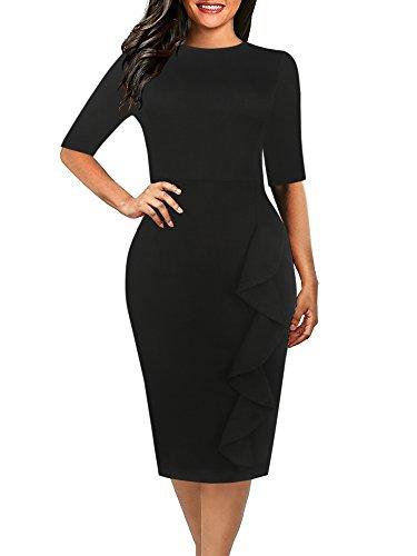 (oxiuly Women's Casual Simple Soild Half Sleeve Round Neck Work Business Pencil Sheath Fall Plus Stretchy Dress OX055 (XXL, Soild Black))