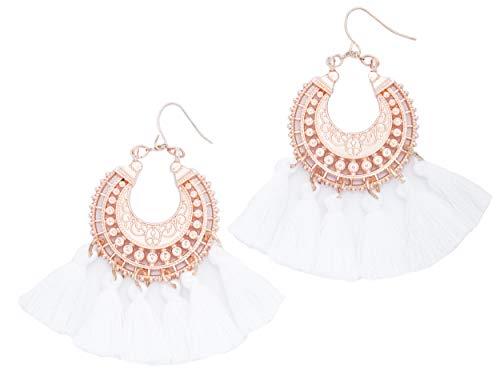 Rose Gold Tassel Earrings: White fringe gifts for women. Fashion drop dangle tassle earing by BLUSH & CO. (White)
