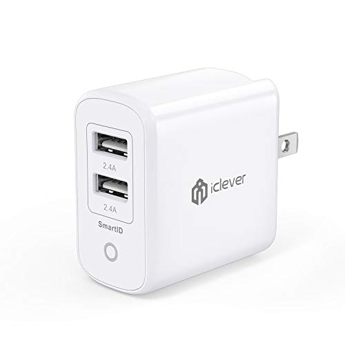 iClever 24W 4.8A Dual Wall Charger with SmartID Tech, Foldab