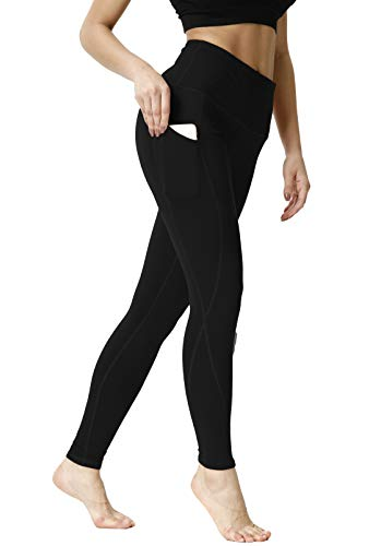 Yoga Pants Slim Fit 4-Way Stretch Workout Leggings with Pockets, Black, L ()