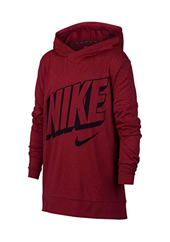 NIKE Boys Breathe Graphic Hoodie (Red Crush/University Red, Small)
