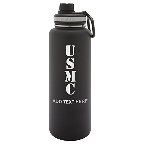 onalized Custom United States Marine Corps Laser Engraving Takeya Thermoflask Leak Proof Insulated Stainless Steel Workout Sports Water Bottle Tumbler, 24 Oz, Black ()