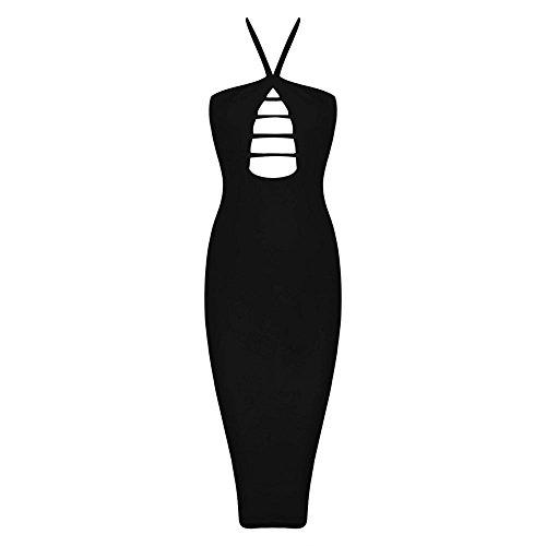 Hollow Negro Bandage Dress Out Cross Halter Women Hlbandage Rayon Eq8gP