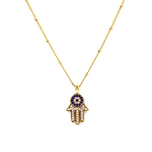 Turkish Evil Eye Protection - Turkish Evil Eye Hamsa Necklace Cats Eye Gold Plated Faith Protection Lucky Jewelry for Women and Girls Party Special Days(Evil Eye Hamsa Necklace)