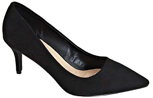 - Bella Marie Marque-4 Women's Ladies Classic Fashion Pointed Pointy Closed Toe Faux Suede Low Mid Kitten Heels Slip On Casual Pumps Shoes Black 7