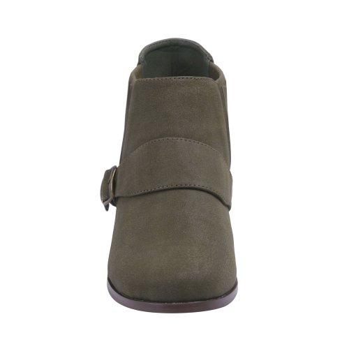 Bonnibel Paco-1 Da Donna Con Cinturino Alla Caviglia Regolabile Taglio Frangia Alla Caviglia Kaki
