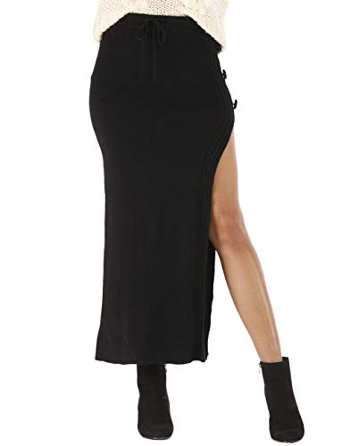(Womens Maxi Sweater Skirt High Waisted Slit Ribbed Knit Skirt with Drawstring)
