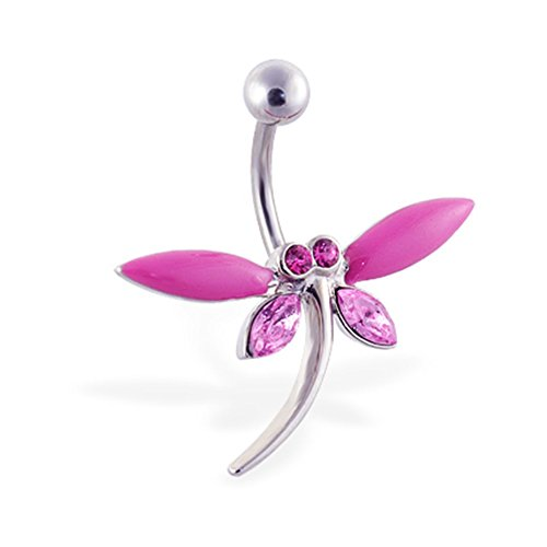 MsPiercing Large Pink Jeweled Dragonfly Belly -