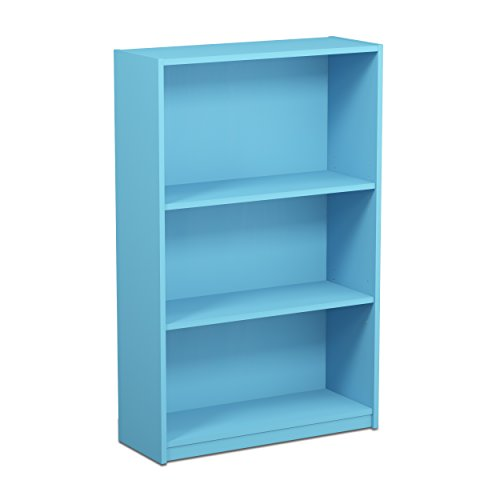 FURINNO 14151R1LBL Jaya Simple Home 3-Tier Adjustable Bookcase, Light Blue (Blue Shelf)