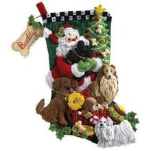 Bucilla 18-Inches Christmas Stocking Felt Appliqué Kit, 86054 Santa Paws