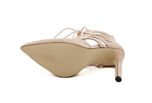 Mujer Sandalia Alto Tacón Señoras Estilete Corte Zapatos Puntiagudo Dedo del pie Tobillo Cruzar Correas Ante Negro Fiesta apricot