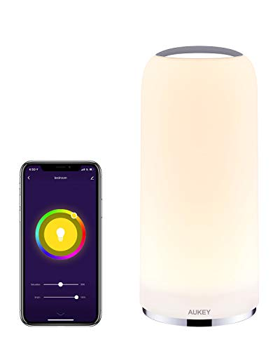 AUKEY Smart Table Lamp Works with Alexa & Google Home App Control Bedside Lamp Dimmable Warm White Light & RGB Touch…
