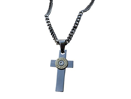(Heavy Duty Stainless Steel Cross Necklace with Brass 45 Caliber Bullet on Curb Chain. N-377)