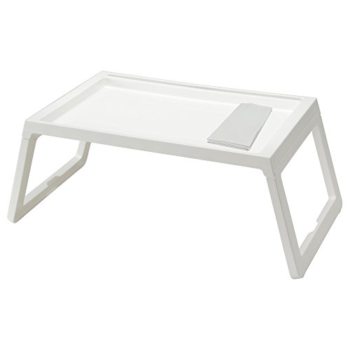 IKEA TV Tray - Lap Tray For The Family Bundle with Restaurant Quality Dinner Napkin - For TV, Movies, Breakfast in Bed, Lunch, Brunch, Dinner - WHITE [Foldable Legs][1 Napkin Included Per Tray] by Klipsk