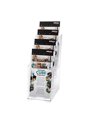 (Deflecto Multi-Compartment Docuholder, Countertop or Wall Mount, 4-Tiered Literature Holder, Small Size, Clear, 4-7/8