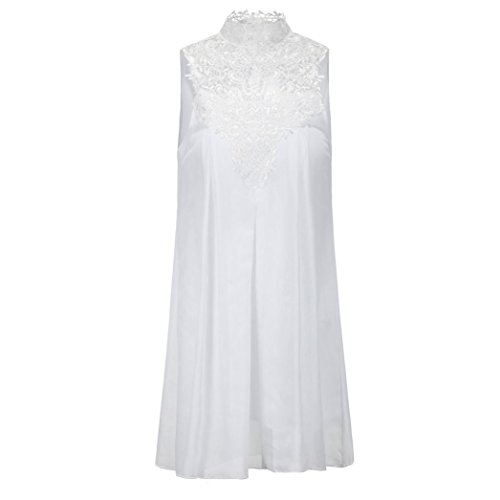Women Dress Sexy White Lace Sleeveless Anboo Summer Casual 74ROWq5w