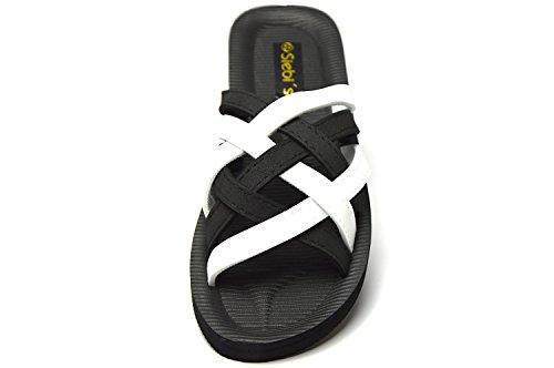 Siebi`s Beach black/ white Bade- und Duschpantolette schwarz/ weiß Schwarz- Weiß