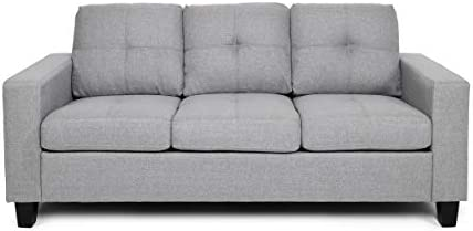 Christopher Knight Home Viviana Three Seater Sofa with Wood Legs, Gray and Natural Finish, 34.00 inches deep x 76.00 inches wide x 35.00 inches high