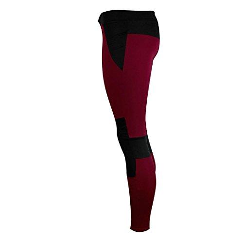 Fitnesshose Yoga Rot Pants Sporthose Gym Lange Yoga Leggings Yoga TUDUZ Damen Sport Strech Leggings 8fwqW4xO