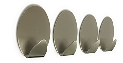 Ox Gear Brushed Stainless Steel Wall Adhesive Hooks, 4-Pack