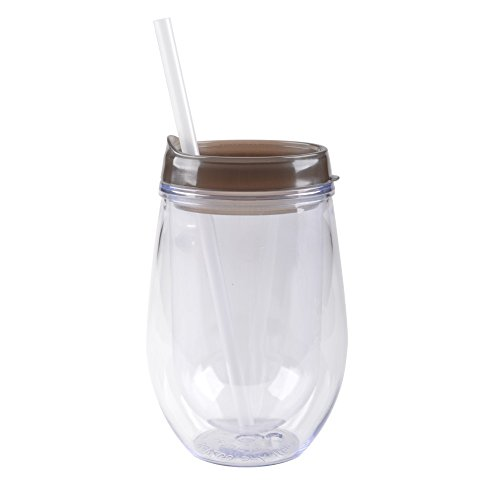 Bev/Go: Double Wall Acrylic Stemless Wine Glass with Color Lid, Black