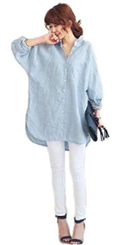 [オチビ] ゆったり ルーズ ビッグ シルエット 薄手 ワイド シャツ ブラウス ブルー ホワイト S ~ 2XL