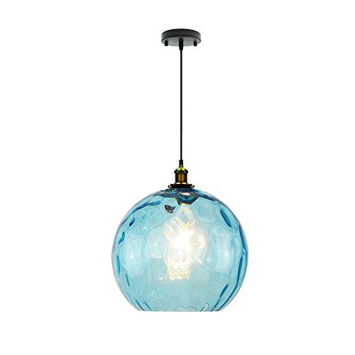 I-xun Modern Pendant Lighting Industrial Design E27 Glass LampShade Ceiling Lighting Blue (30cm)