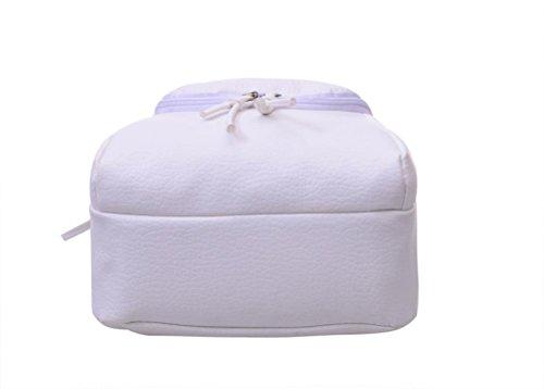 Clode® Bolso de las mujeres chicas señoras mochila moda bandolera mochila PU cuero viajes Blanco